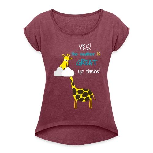 Funny Giraffe T-shirt for men women kids - Women's Roll Cuff T-Shirt