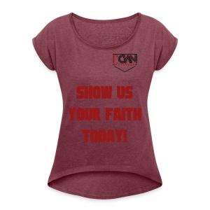 rOWN LOGO T SHIRT - Women's Roll Cuff T-Shirt