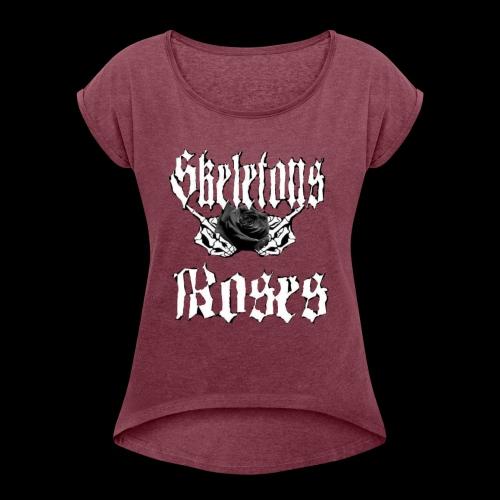 Skull Middle Finger Roses Design - Women's Roll Cuff T-Shirt