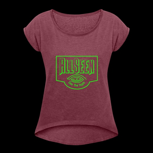 Green AllSeen Logo - Women's Roll Cuff T-Shirt