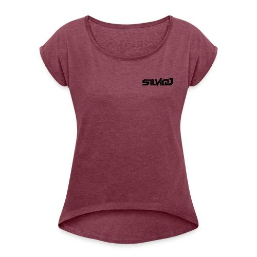 SilvioJ Text Logo Black - Women's Roll Cuff T-Shirt