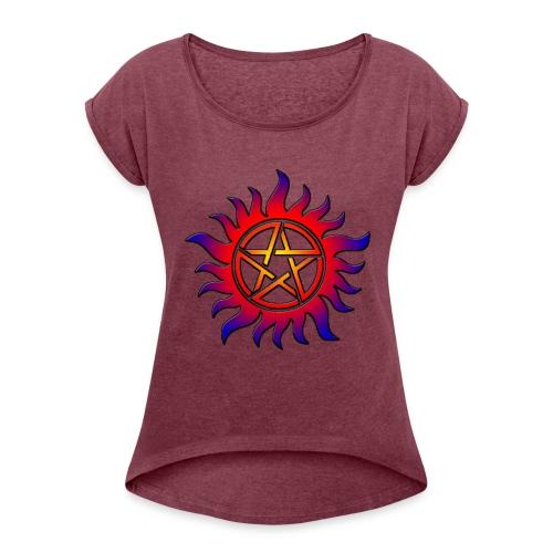 Anti Possession Symbol Sun Fire - Women's Roll Cuff T-Shirt