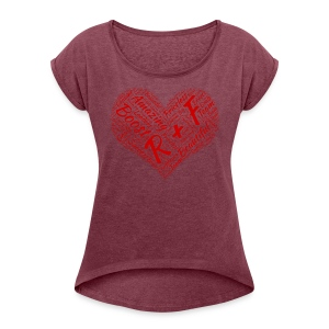 R+F Red Heart - Women's Roll Cuff T-Shirt