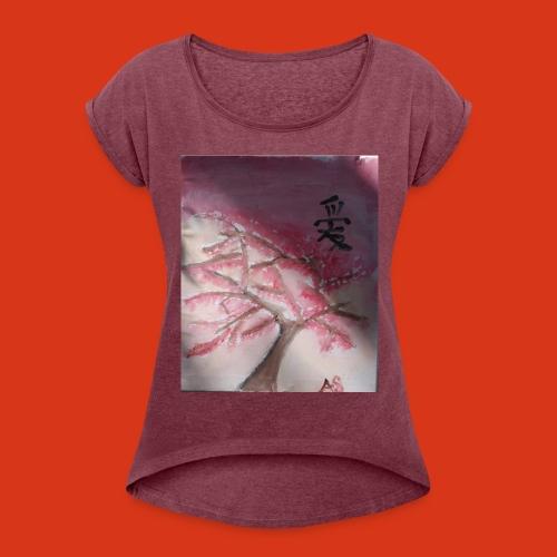 cherry blossom design - Women's Roll Cuff T-Shirt