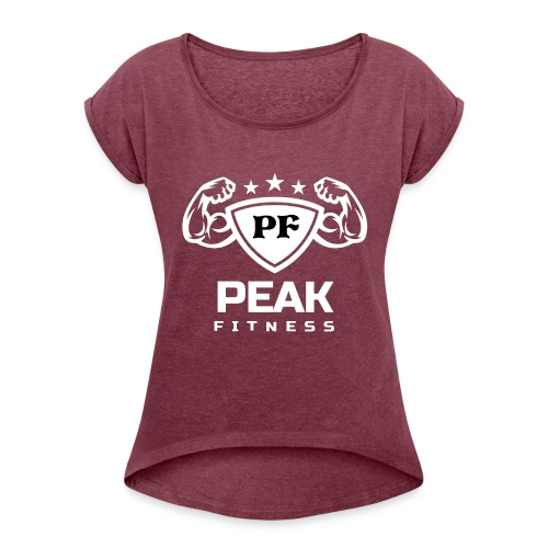PeakFit Logo (White Version) - Women's Roll Cuff T-Shirt