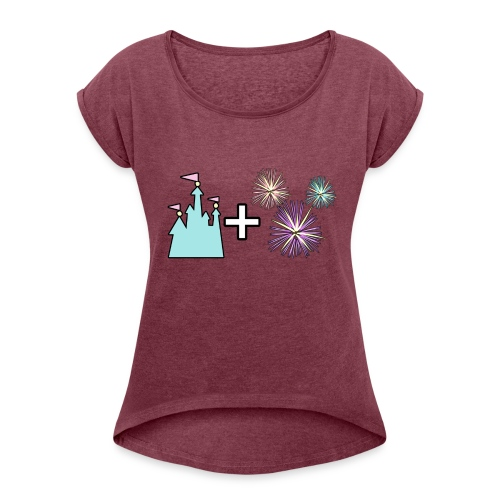 Castle & Fireworks - Women's Roll Cuff T-Shirt