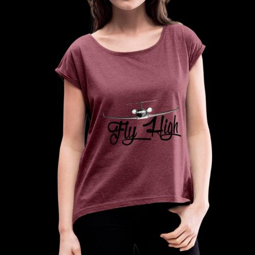 NEW FLY HIGH LOGO BLACK - Women's Roll Cuff T-Shirt