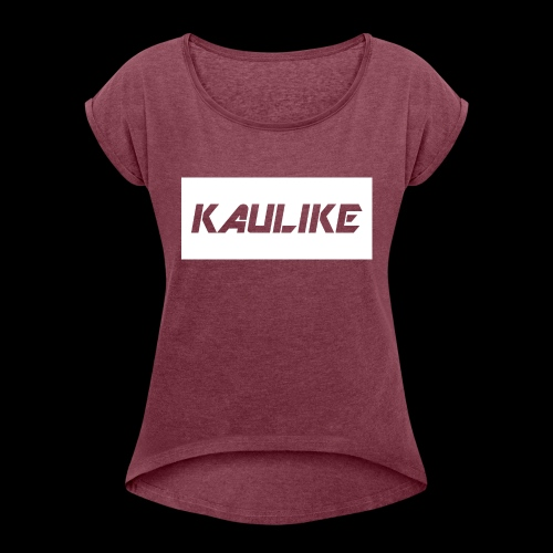 Black hoodie & Red shirt - Women's Roll Cuff T-Shirt