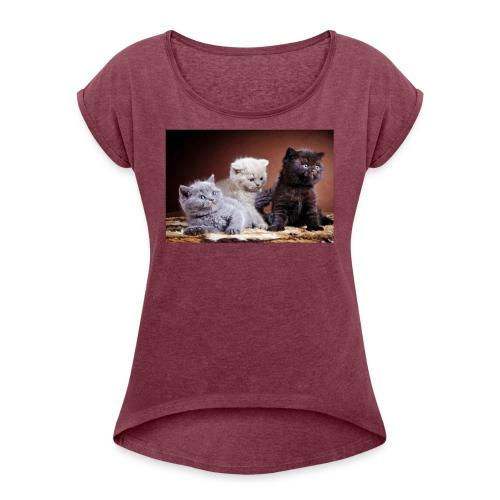 The 3 little kittens - Women's Roll Cuff T-Shirt