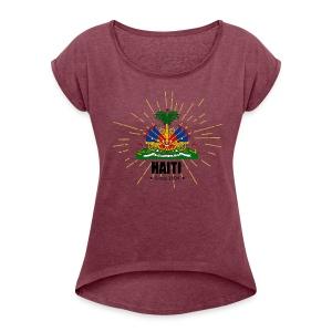 Haiti Emblem - Women's Roll Cuff T-Shirt