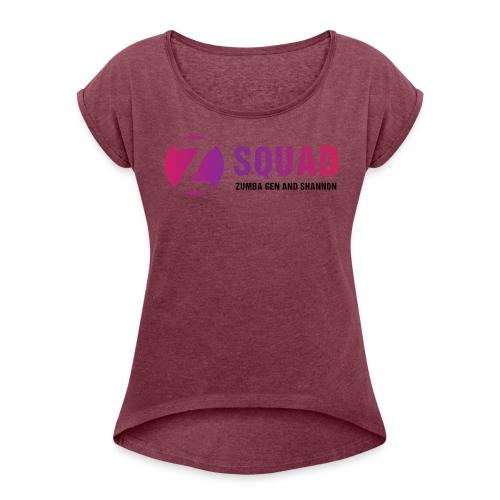 Z SQUAD LogoBLACK - Women's Roll Cuff T-Shirt