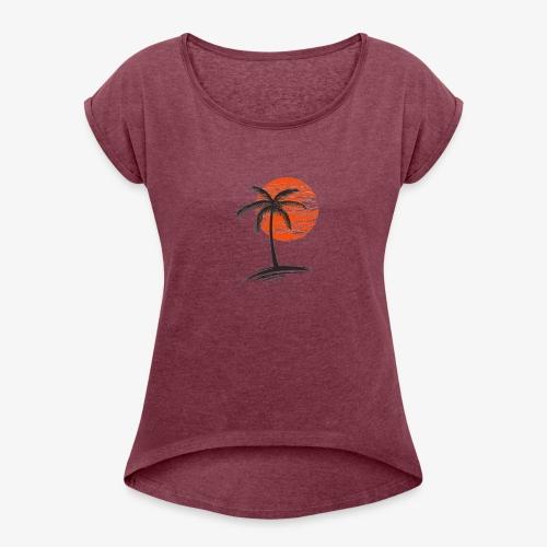 Palm Tree Original - Women's Roll Cuff T-Shirt