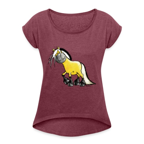fjord_horse - Women's Roll Cuff T-Shirt