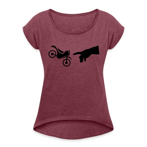 The hand of god brakes a motorcycle as an allegory - Women's Roll Cuff T-Shirt