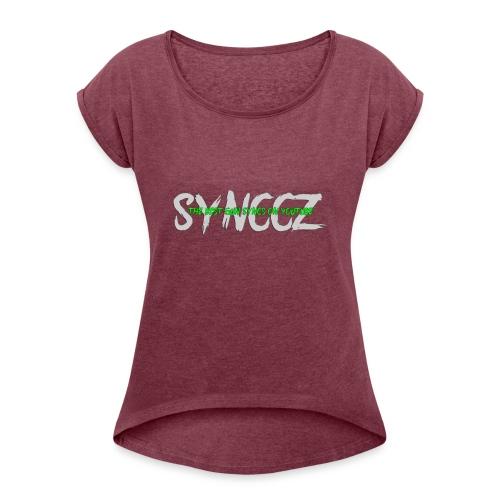 Scratchy Text - Women's Roll Cuff T-Shirt