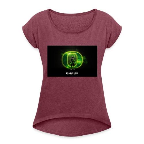 ducks_football_wallpaper - Women's Roll Cuff T-Shirt