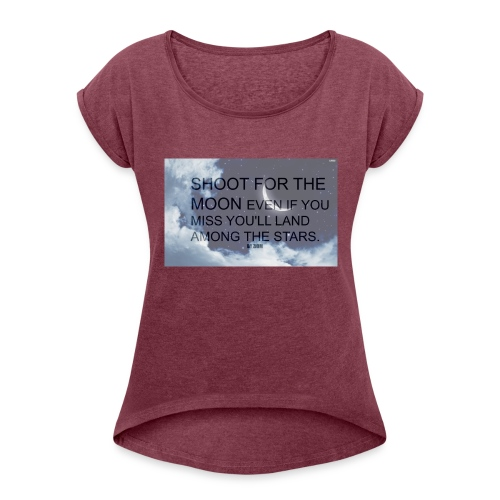 simple background white background wallpaper 1 - Women's Roll Cuff T-Shirt