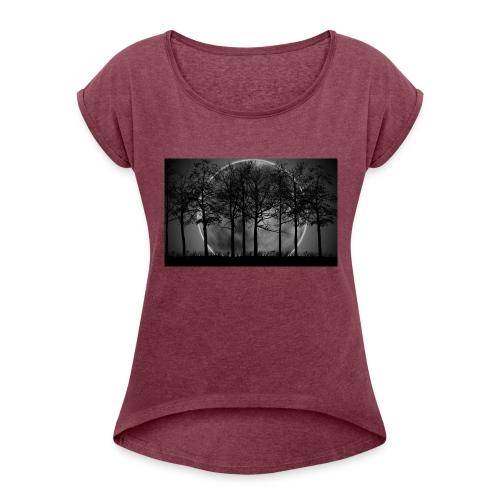 7034869 moon night art - Women's Roll Cuff T-Shirt