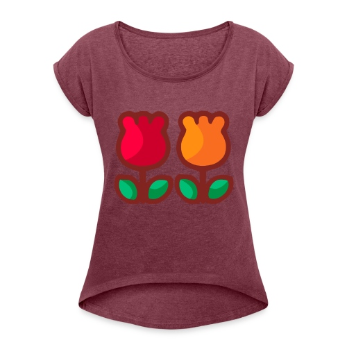 Loving Tulips - Women's Roll Cuff T-Shirt