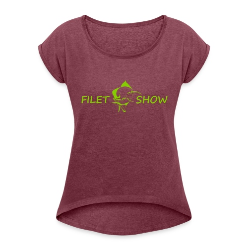 Green_logo_for_shirts - Women's Roll Cuff T-Shirt