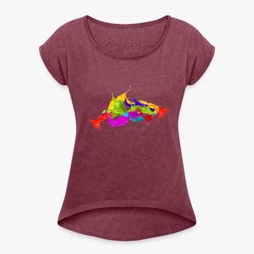 Paint Flow - Women's Roll Cuff T-Shirt