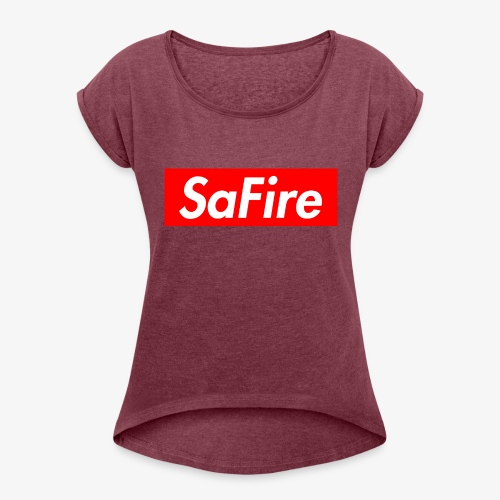 SaFire box logo tee - Women's Roll Cuff T-Shirt