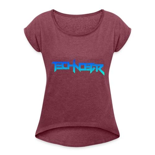 Blue Technostar Logo Apparel - Women's Roll Cuff T-Shirt