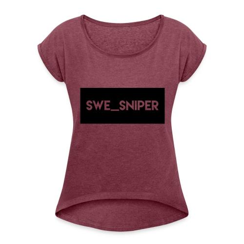 Swe_Sniper Logo - Women's Roll Cuff T-Shirt