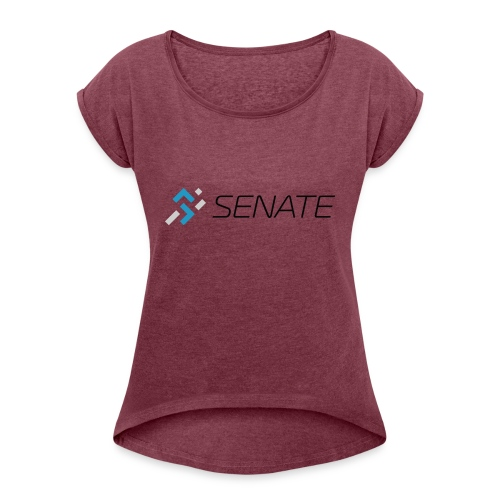 Color-Logo-with-Text - Women's Roll Cuff T-Shirt