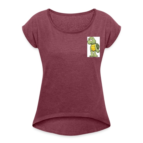 IRSPOW/the turtle - Women's Roll Cuff T-Shirt