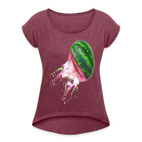 watermelon Splash!!! - Women's Roll Cuff T-Shirt