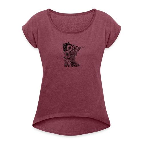MINNESOTA MN WILDFLOWER - Women's Roll Cuff T-Shirt