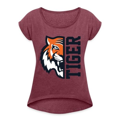 Tiger head - Women's Roll Cuff T-Shirt