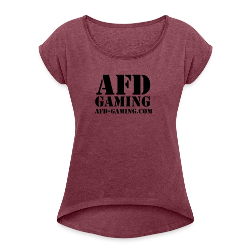 AFD GAMING Stencil Blk - Women's Roll Cuff T-Shirt