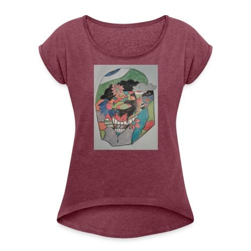 The judging eyes - Women's Roll Cuff T-Shirt