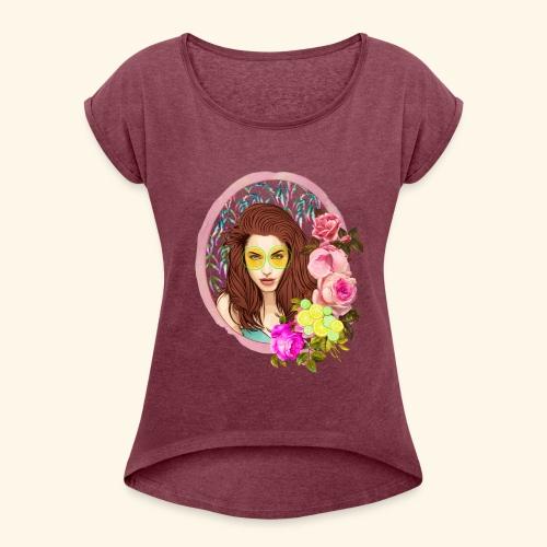frame digital flower roses ribbon girl - Women's Roll Cuff T-Shirt