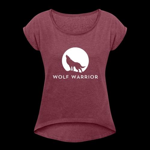 Red/Grey Wolf - Women's Roll Cuff T-Shirt