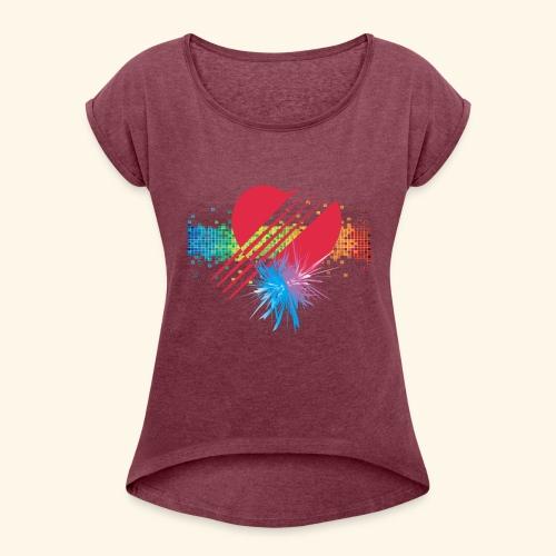 BOOM - RED - Women's Roll Cuff T-Shirt