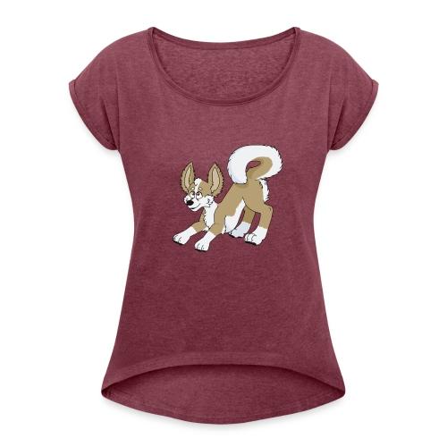 Crouching Chihuahua - Women's Roll Cuff T-Shirt