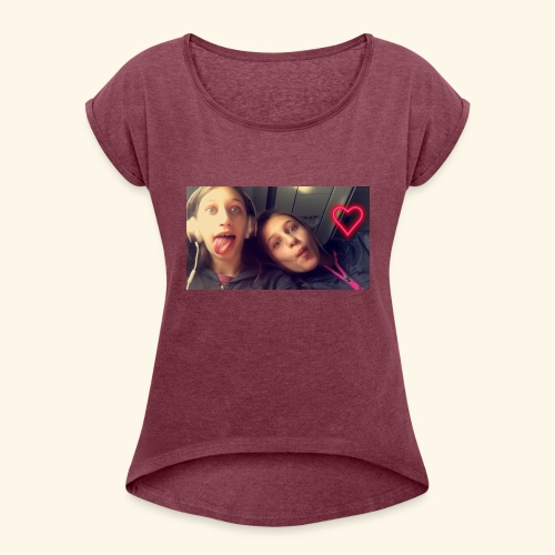 Madison and Dylan Selfie - Women's Roll Cuff T-Shirt