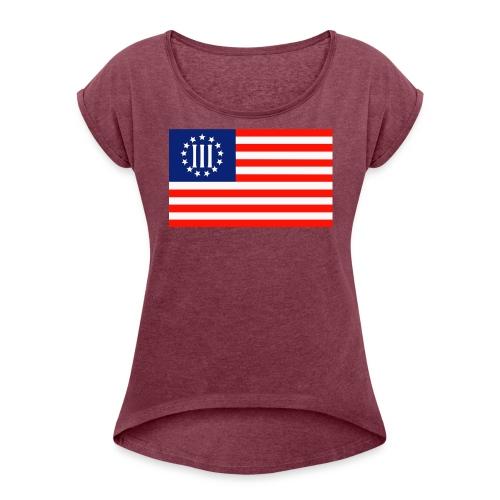 3 Percenters Flag - Women's Roll Cuff T-Shirt