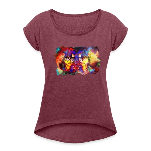 Colorful sketch - Women's Roll Cuff T-Shirt