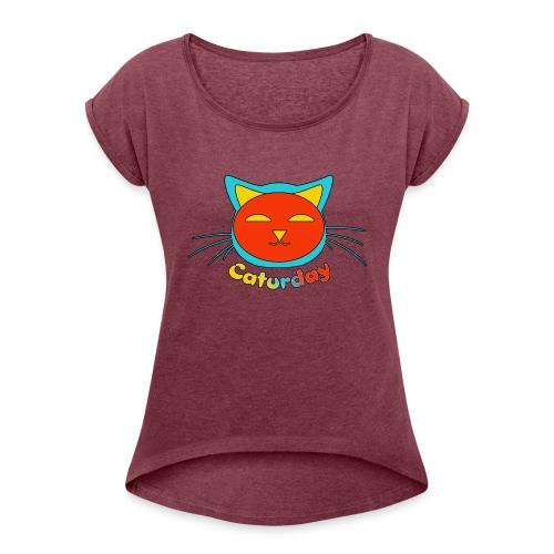 Caturday Design - Women's Roll Cuff T-Shirt