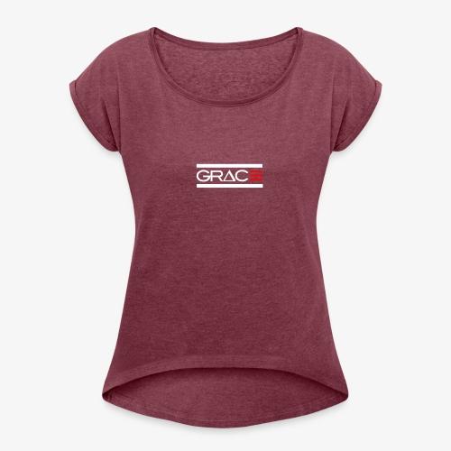 White Double line Grace - Women's Roll Cuff T-Shirt