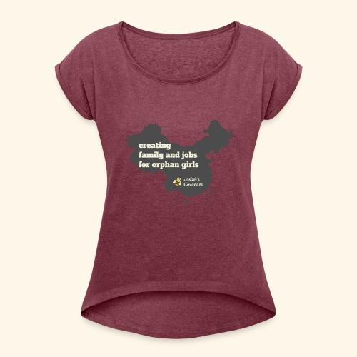 Josiah's Covenant - map - Women's Roll Cuff T-Shirt