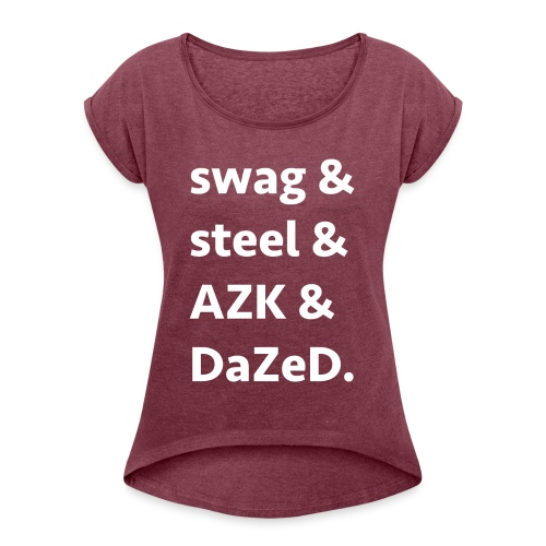 ssad white letters - Women's Roll Cuff T-Shirt