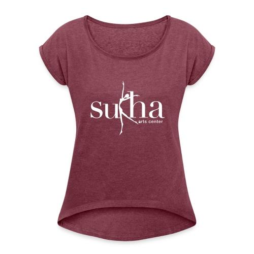 sukha white logo - Women's Roll Cuff T-Shirt