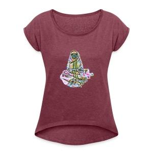 Pug in a blanket - Women's Roll Cuff T-Shirt