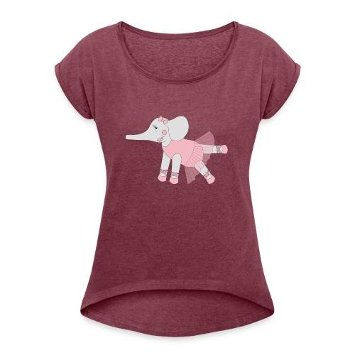 Ballerina Elephant - Women's Roll Cuff T-Shirt