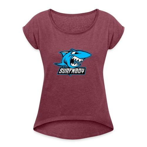 Surfnboy Mascot - Women's Roll Cuff T-Shirt